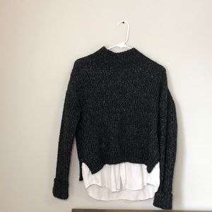 Black sweater knitted turtleneck long sleeve top